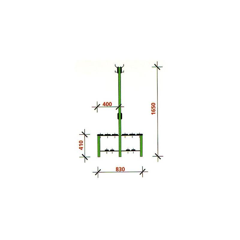 Banco vestuario doble con perchero doble zapatillero 2 list 1,5 m