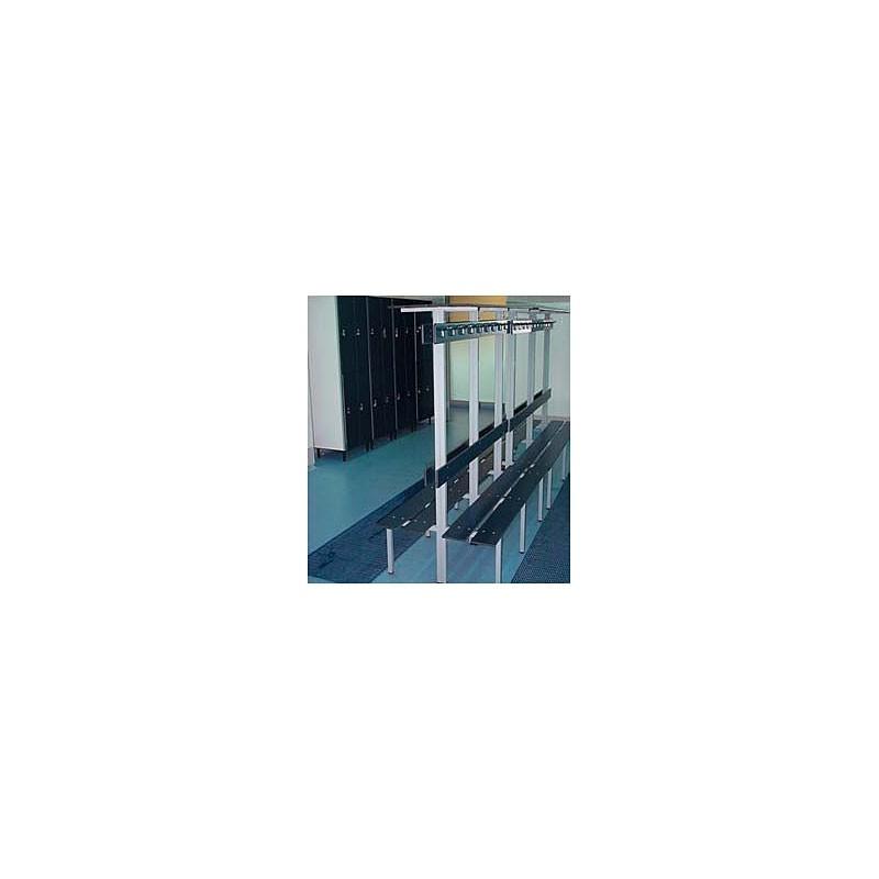 Banco vestuario fenólico 2 percheros 2 baldas 2 respaldos Inox 1,39 m