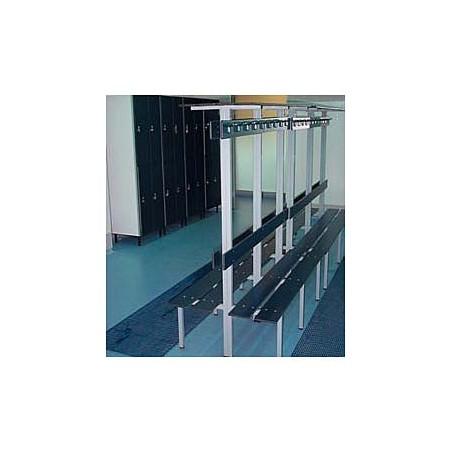 Banco vestuario fenólico doble 2 percheros 2 baldas 2 respaldos 2,5m