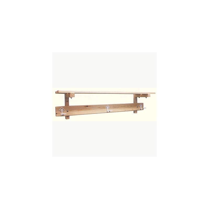 Perchero vestuario estructura y estante superior madera 1 m