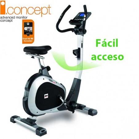 Bicicleta estática para realizar ejercicio regular en el hogar BH i.Concept ARTIC con Dual Kit incluido WH674U