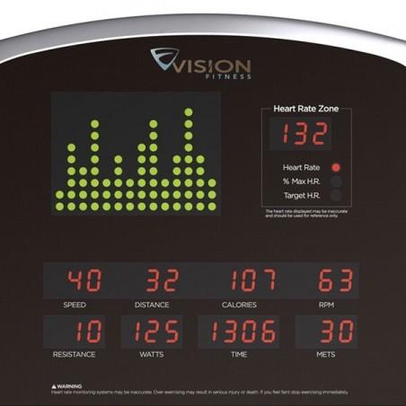 Detalle del monitor de la bicicleta estática Vision U60 volante 20kg autogenerada
