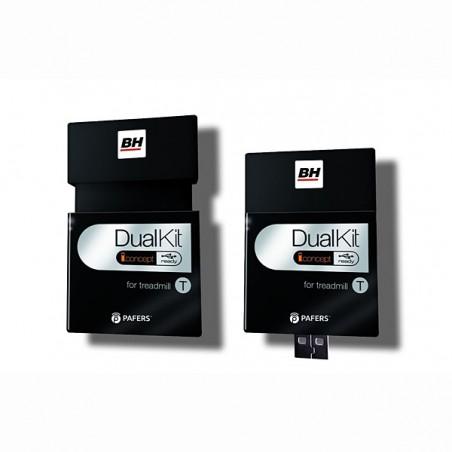 Dispositivo Dual Kit T incluido en la cinta de correr BH F12 para entrenar navegando por Internet