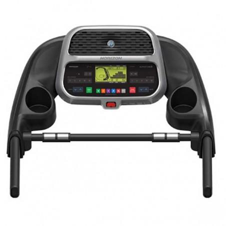 Vista en planta del monitor de la cinta andar y correr Horizon Adventure 3 para utilización doméstica intensiva