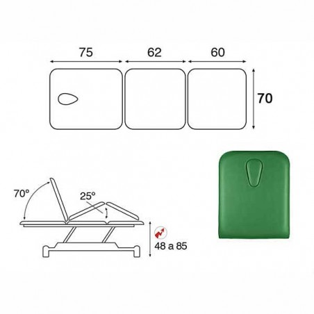 Esquema y movimientos de la camilla eléctrica 2 cuerpos Ecopostural C3513T13M64