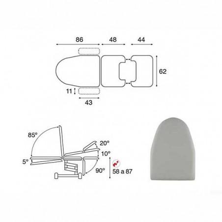 Esquema y movimientos del sillón ginecología eléctrico 3 cuerpos Ecopostural C3565T19 convertible en camilla