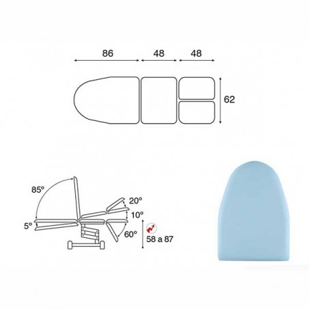 Esquema y movimientos del sillón eléctrico 3 cuerpos para podología Ecopostural C3568T19 convertible en camilla