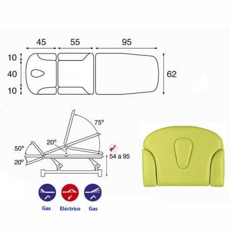 Esquema y movimientos de la camilla eléctrica 3 cuerpos Ecopostural C5531T01 para tratamientos, masajes y terapias