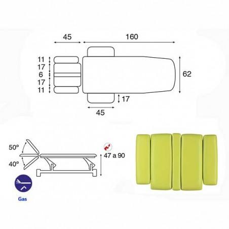 Esquema y movimientos de la camilla eléctrica 2 cuerpos Ecopostural C5544T03 para tratamientos, masajes y terapias