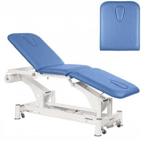 Respaldo de la camilla eléctrica 3 cuerpos Ecopostural C5547T13 con doble hueco facial para tratamientos, masajes y terapias