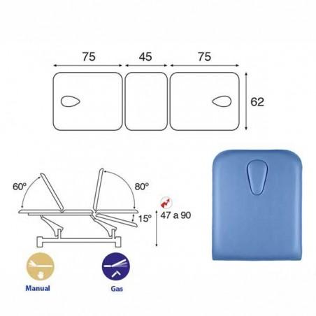 Esquema y movimientos de la Camilla eléctrica 3 cuerpos Ecopostural C5547T13M46 con doble hueco facial para tratamientos masajes