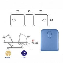 Esquema y movimientos de la Camilla eléctrica 3 cuerpos Ecopostural C5547T13M66 con doble hueco facial para tratamientos masajes