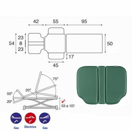 Esquema y movimientos de la camilla eléctrica 3 cuerpos Ecopostural C7990T05 para osteopatía