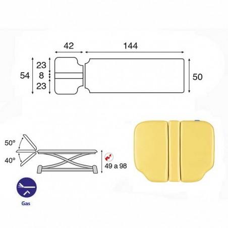 Esquema y movimientos de la camilla eléctrica de 2 cuerpos con estructura de tijera Ecopostural C7946T05 osteopatía, tratamiento