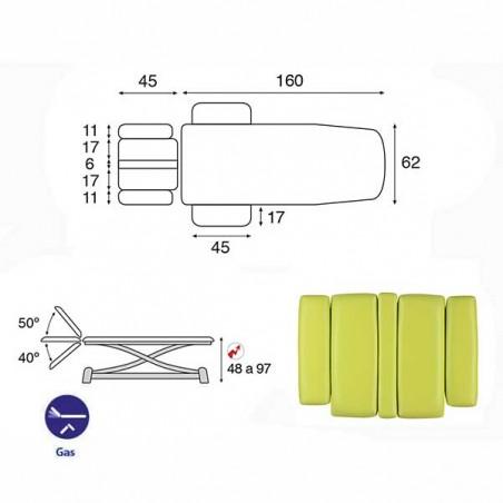 Esquema y movimientos de la camilla eléctrica 2 cuerpos Ecopostural C7944T03 para osteopatía, tratamientos y terapias