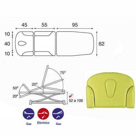 Esquema y movimientos de la camilla eléctrica 3 cuerpos Ecopostural C7931T01 para tratamientos, masajes y terapias