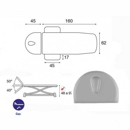 Esquema y movimientos de la camilla eléctrica de 2 cuerpos con estructura de tijera Ecopostural C7924T10 para tratamientos, masa