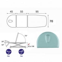 Esquema y movimientos de la camilla eléctrica técnica de 3 cuerpos Ecopostural C7910T10M67 para tratamientos, masajes y terapias