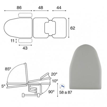Plano de Camilla hidráulica multifuncional ginecología 3 cuerpos C3765