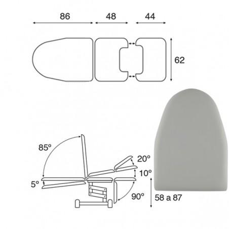 Plano de Camilla hidráulica multifuncional ginecología 3 cuerpos C3766