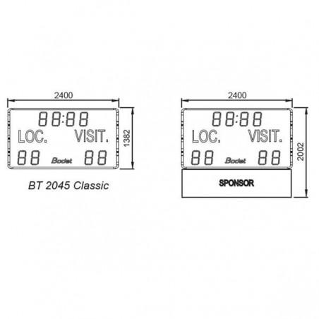 Marcador deportivo electrónico para exterior 8 dígitos de 45 cm