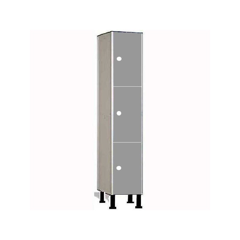 Taquilla vestuario fenólica perfil aluminio 3 puertas 60x30x50cm